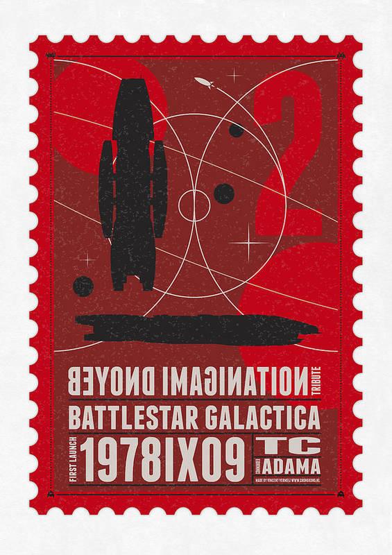 Minimal Poster featuring the digital art Starschips 02-poststamp - Battlestar Galactica by Chungkong Art