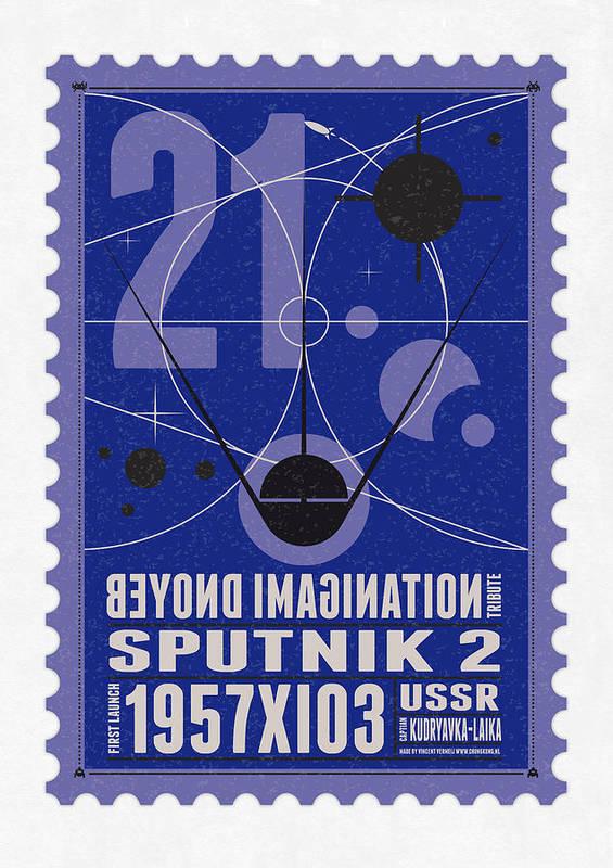 Minimal Poster featuring the digital art Starschips 21- Poststamp - Sputnik 2 by Chungkong Art