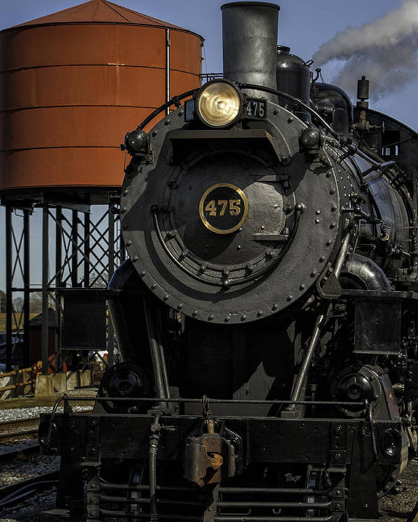 Strasburg Rr Poster featuring the photograph Steam Engine #475 Pulling Into The Strasburg Rr Station 01 by Mark Serfass