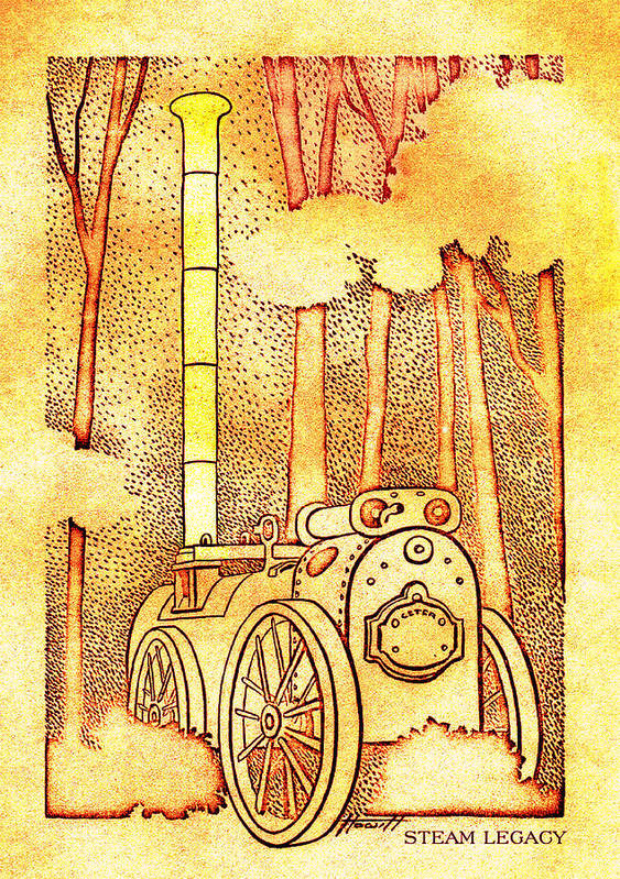 Steam Tractor Poster featuring the drawing Steam Legacy Gold by Patricia Howitt