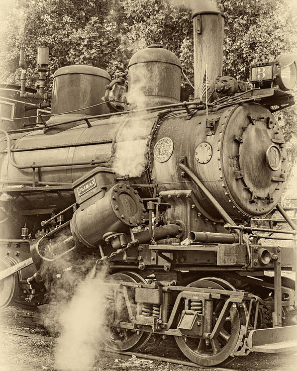 Pocahontas County Poster featuring the photograph Steam Power Sepia Vignette by Steve Harrington