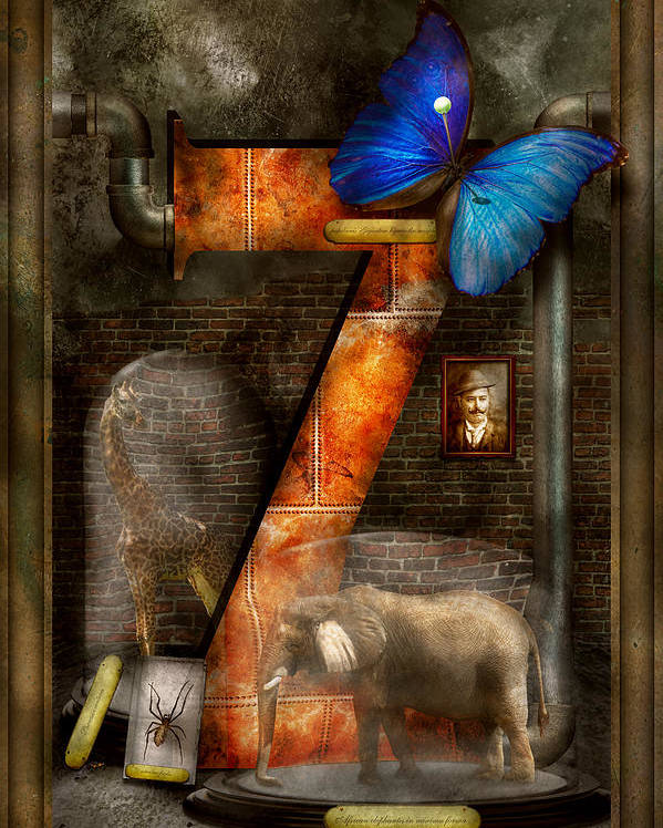 Self Poster featuring the photograph Steampunk - Alphabet - Z Is For Zoology by Mike Savad