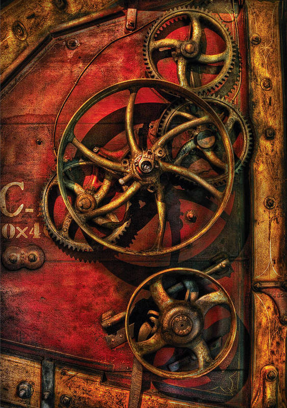 Savad Poster featuring the photograph Steampunk - Clockwork by Mike Savad