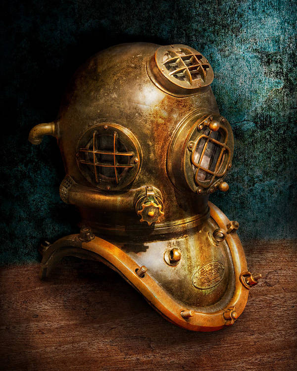 Hdr Poster featuring the photograph Steampunk - Diving - The Diving Helmet by Mike Savad