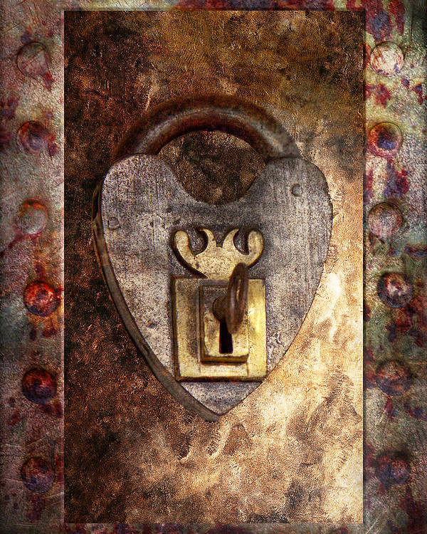 Locksmith Poster featuring the photograph Steampunk - Locksmith - The Key To My Heart by Mike Savad