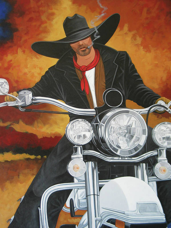 Cowboy On Motorcycle Poster featuring the painting Steel Pony by Lance Headlee