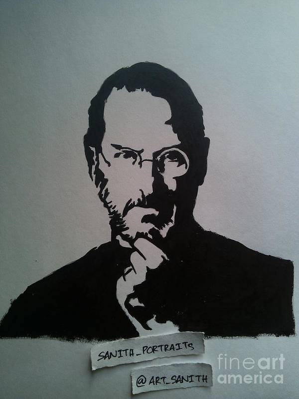 Poster featuring the drawing Stencil -steve Jobs by Sanith Raj S