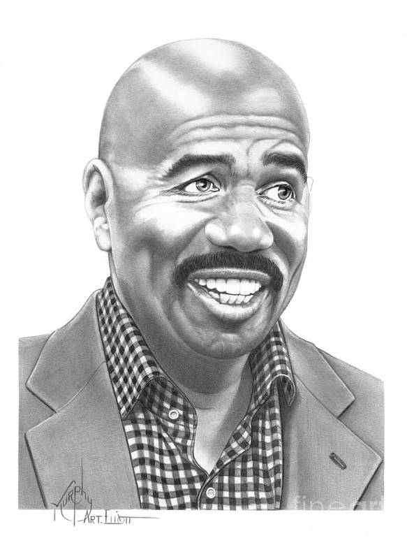 Pencil Poster featuring the drawing Steve Harvey by Murphy Elliott