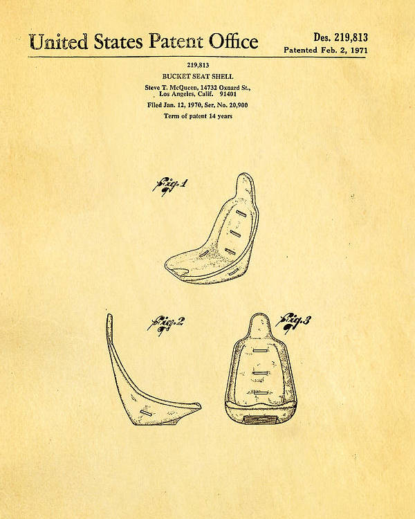 Automotive Poster featuring the photograph Steve Mcqueen Bucket Seat Patent Art 1971 by Ian Monk