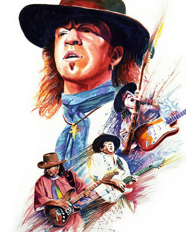Guitarists Poster featuring the painting Stevie Ray Vaughn by Ken Meyer