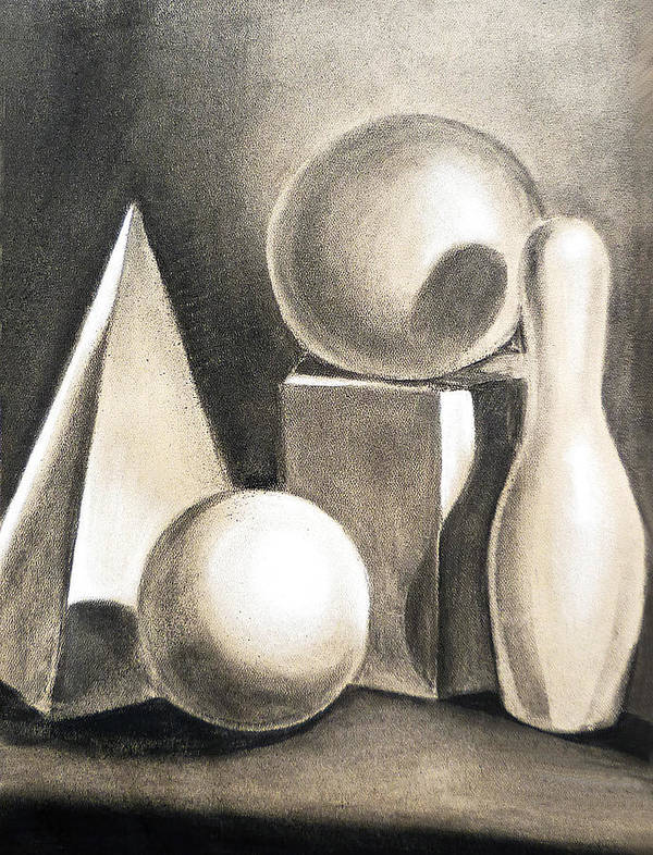 Still Poster featuring the drawing Still Life Study Of Forms by Irina Sztukowski