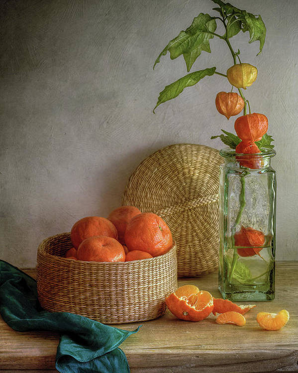 Oranges Poster featuring the photograph Still Life With Clementines by Mandy Disher