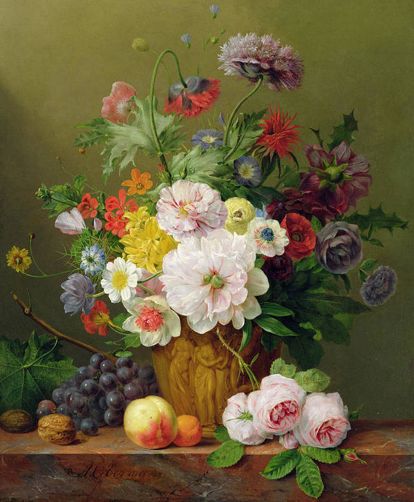 Rose Poster featuring the painting Still Life With Flowers And Fruit by Anthony Obermann