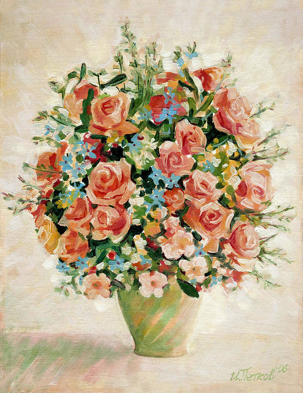 Flowers Poster featuring the painting Still Life with Roses by Iliyan Bozhanov