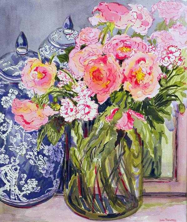 Glass Vase; Pink Rose Poster featuring the painting Still Life With Two Blue Ginger Jars by Joan Thewsey