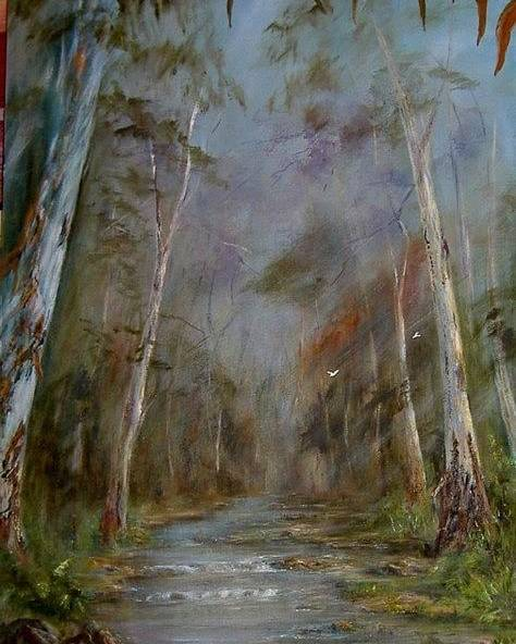 Landscape Poster featuring the painting Stony Creek by Rita Palm