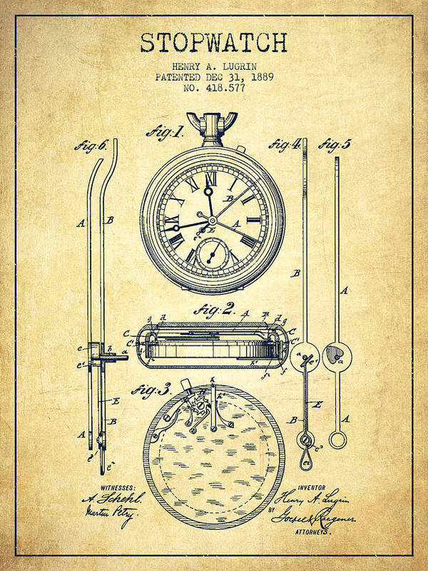 Stopwatch Patent Drawing From 1889 -vintage Poster