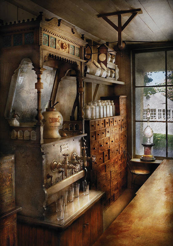 Savad Poster featuring the photograph Store - Turn Of The Century Soda Fountain by Mike Savad