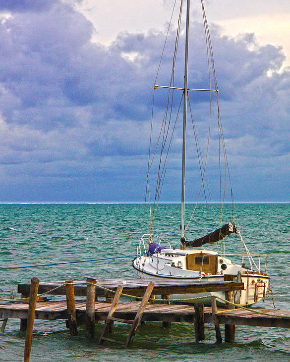 Caye Caulker Poster featuring the photograph Storm Coming Caye Caulker Belize by Lee Vanderwalker