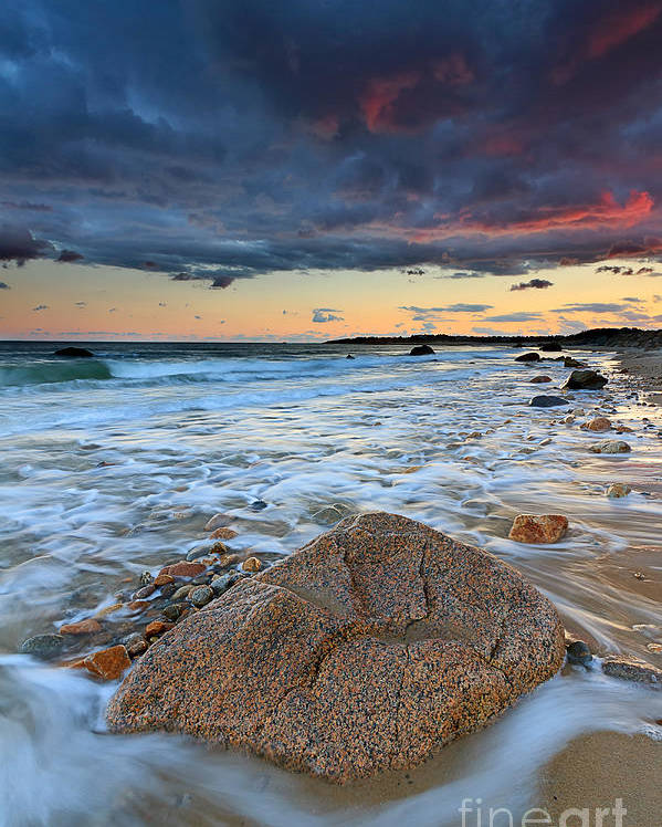 Storm Clouds Poster featuring the photograph Stormy Sunset Seascape by Katherine Gendreau