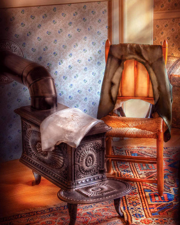 Savad Poster featuring the photograph Stove - The Stove And The Chair by Mike Savad