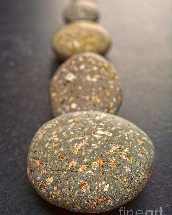 Stone Poster featuring the photograph Straight Line Of Speckled Grey Pebbles On Dark Background by Colin and Linda McKie