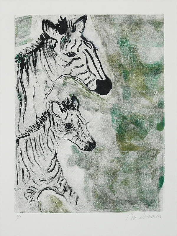 Zebras Poster featuring the mixed media Striped Duet by Cori Solomon