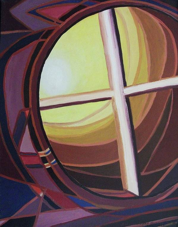 Abstract Poster featuring the painting Struggle by Suzanne Marie Leclair