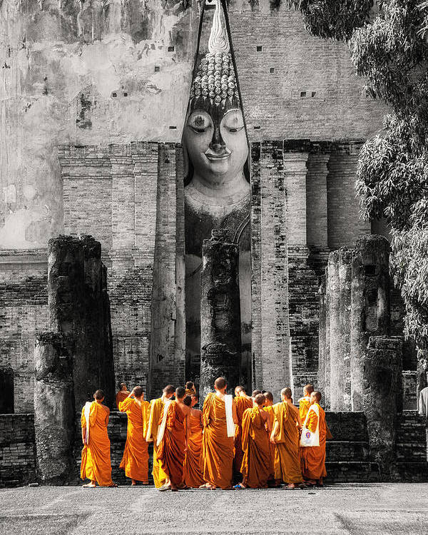 Monks Poster featuring the photograph Students by Tassanee Angiolillo
