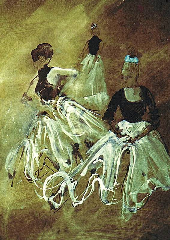 Dancers Poster featuring the painting Study For Spanish Rehearsal by Podi Lawrence