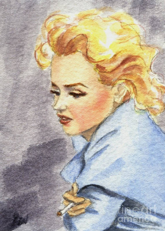 Watercolor Poster featuring the painting study of Marilyn Monroe by Jingfen Hwu