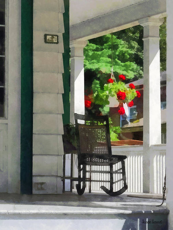 Porch Poster featuring the photograph Suburbs - Porch With Rocking Chair And Geraniums by Susan Savad