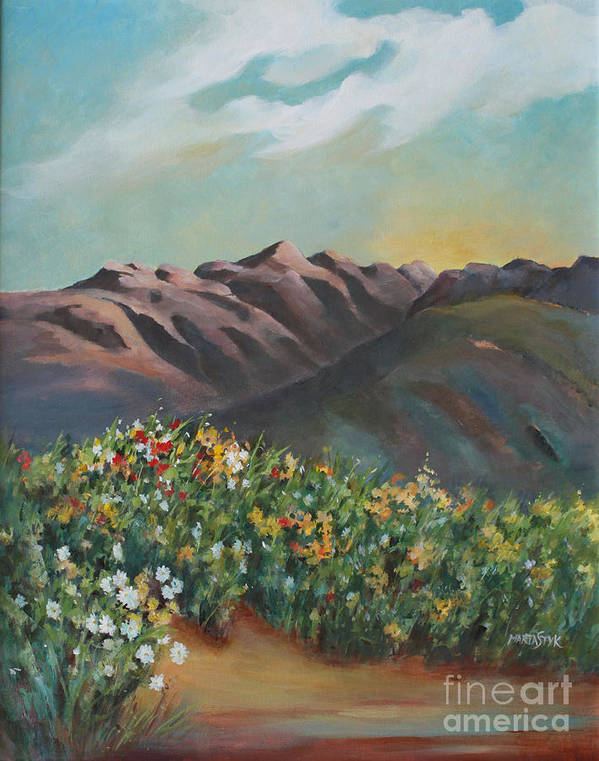 Landscape Poster featuring the painting Summer At Kananaskis by Marta Styk