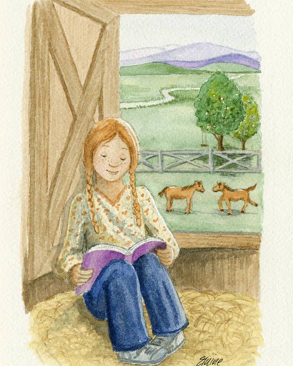 Barn Poster featuring the painting Summer Reading by Elaine Allen