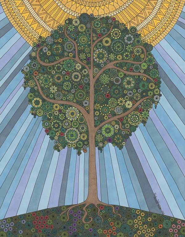 Summer Poster featuring the drawing Summer Tree by Pamela Schiermeyer