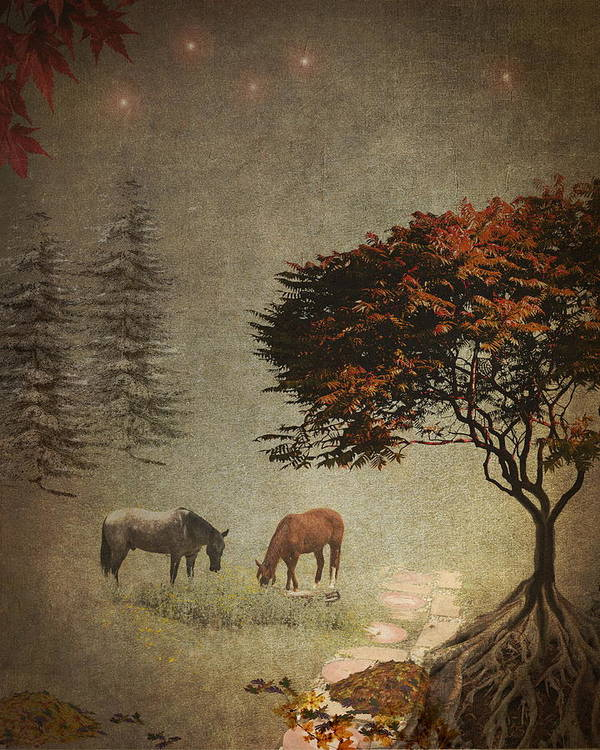 Horses Poster featuring the photograph Summers End by Terry Fleckney