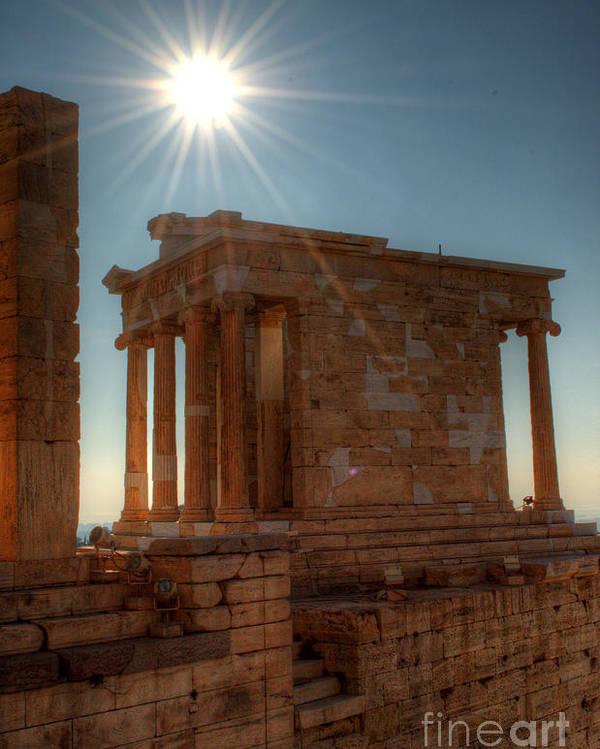 Greece Poster featuring the photograph Sun Over Athena Nike Temple by Deborah Smolinske