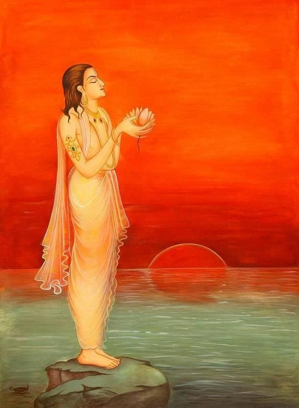 Praying God Sun Poster featuring the painting Sun Set Beauty by Vishnu Swami
