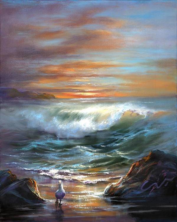 Sunset Seascape Poster featuring the painting Sundance by Sharon Abbott-Furze