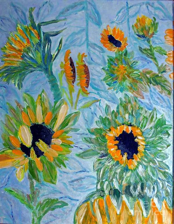 Sunflower Poster featuring the painting Sunflower Cycle Of Life 1 by Vicky Tarcau
