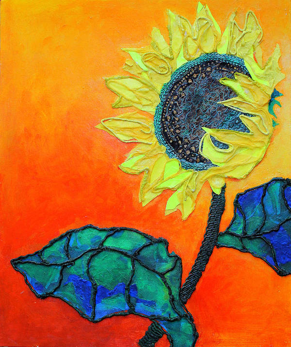 Flower In The Sun Poster featuring the mixed media Sunflower by Diane Fine