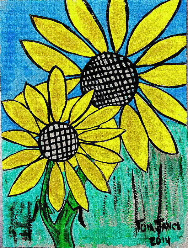 Sunflowers For Fun Poster featuring the photograph Sunflowers For Fun by Tom Janca