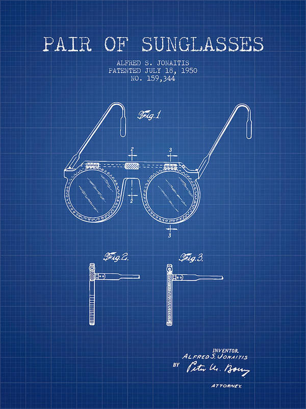 Sunglasses patent from 1950 blueprint poster sunglasses poster featuring the digital art sunglasses patent from 1950 blueprint by aged pixel malvernweather Image collections