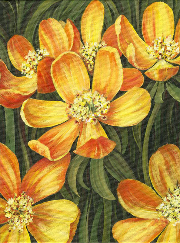 Buttercups Poster featuring the painting Sunny Side by Natasha Denger