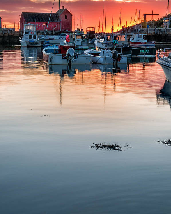 Cape Ann Poster featuring the photograph Sunrise At Rockport Harbor - Cape Ann by Thomas Schoeller