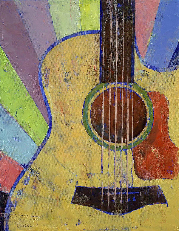 Sunrise Poster featuring the painting Sunrise Guitar by Michael Creese