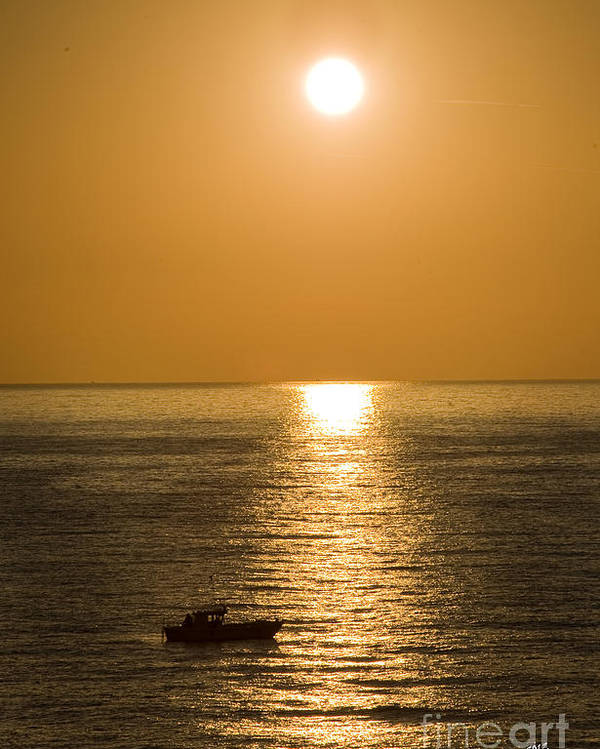 Sunrise Over The Mediterranean With Silhouette Of Boat Crossing The Sun's Resfection In The Water Poster featuring the photograph Sunrise Over The Mediterranean by Jim Calarese