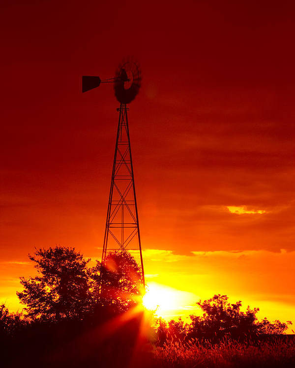 Windmill Poster featuring the photograph Sunrise Windmill 1 A by John Brueske