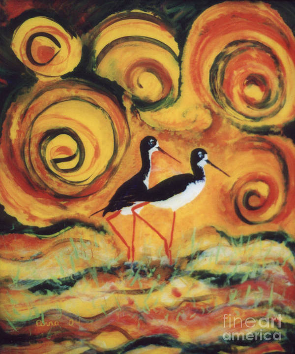 Hawaii Birds Poster featuring the painting Sunset Ballet by Anna Skaradzinska