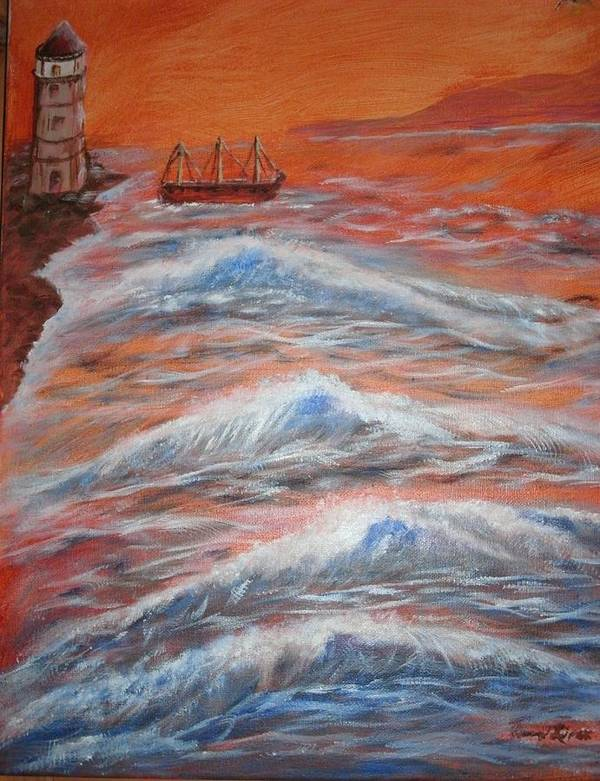 Landscape Poster featuring the painting Sunset by Karen Lipek